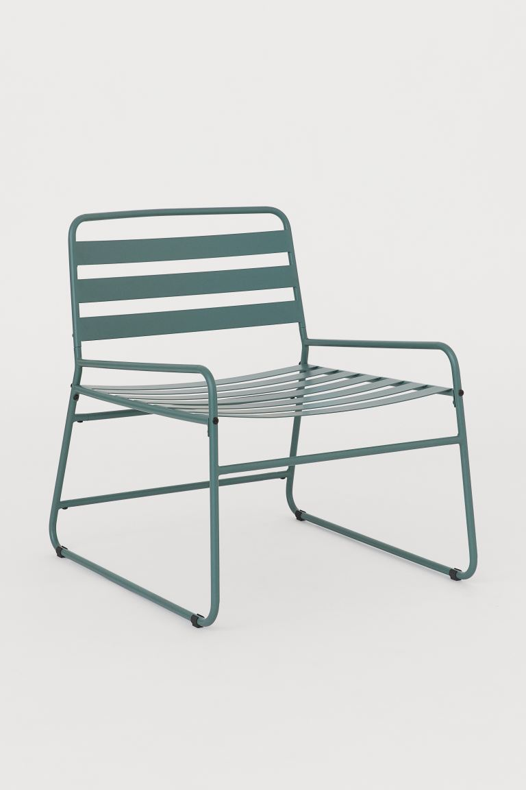 Soft teal powder coated metal garden chair new for spring 2021 from H&M