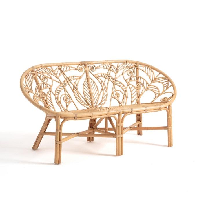 Boho style rattan indoor outdoor bench