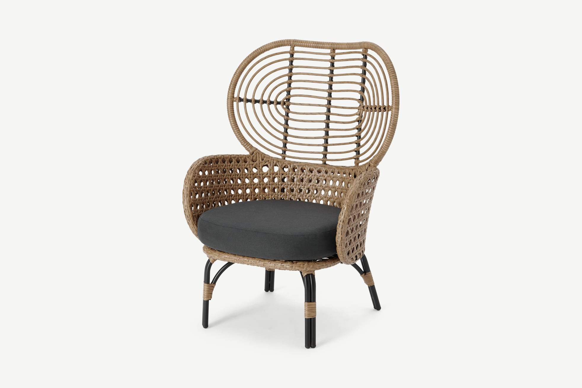 Statement high-backed modern outdoor chair. In faux rattan weave with charcoal grey seat cushion