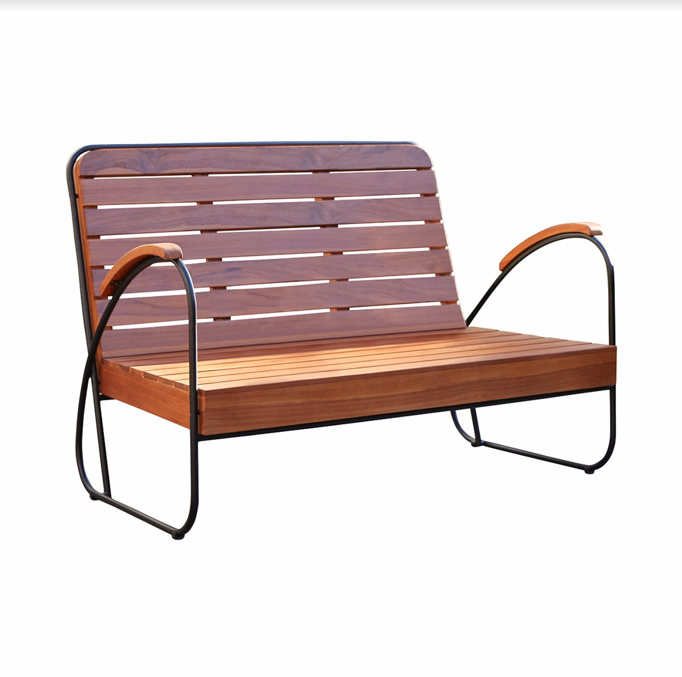 Wood and metal mid century retro style outdoor bench